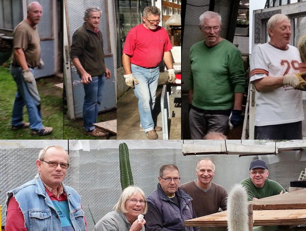 enthousiaste vrijwilligers verhuis planten clubverzameling